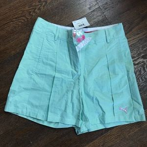 NWT Puma striped gold shorts green and white 4